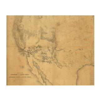 Mapa del territorio de los Estados Unidos Cuadros De Madera
