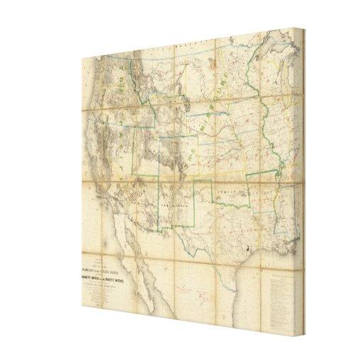 Mapa del territorio de los Estados Unidos Impresión En Tela