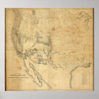 Mapa del territorio de los Estados Unidos Poster