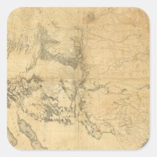 Mapa del territorio de los Estados Unidos Pegatina Cuadrada