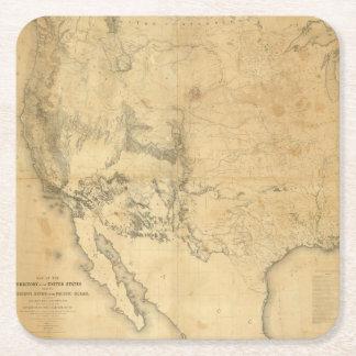 Mapa del territorio de los Estados Unidos Posavasos De Cartón Cuadrado