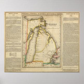 Mapa del territorio de Michigan Póster
