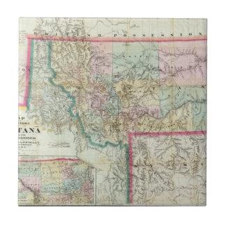 Mapa del territorio de Montana Azulejo Cuadrado Pequeño