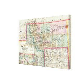 Mapa del territorio de Montana Impresiones De Lienzo