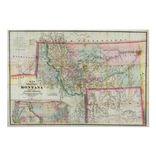 Mapa del territorio de Montana Poster