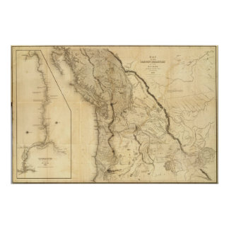 Mapa del territorio de Oregon Poster