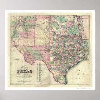Mapa del territorio de Tejas por Colton 1872 Poster