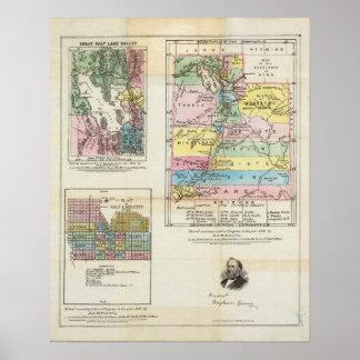 Mapa del territorio de Utah Posters