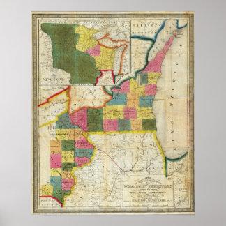 Mapa del territorio establecido de Wisconsin Póster