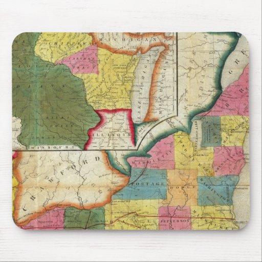 Mapa del territorio establecido de Wisconsin Tapetes De Ratones