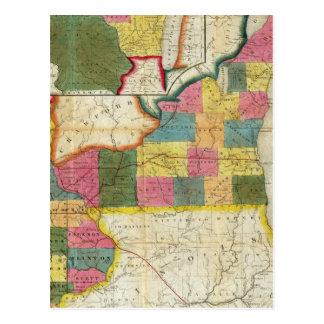 Mapa del territorio establecido de Wisconsin Postales