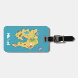 Mapa del tesoro de la aventura de la isla del etiqueta para equipaje