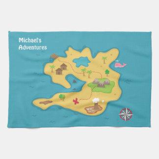Mapa del tesoro de la aventura de la isla del toallas de cocina