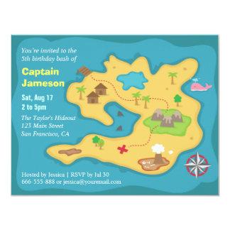 """Mapa del tesoro de la isla, fiesta de cumpleaños invitación 4.25"""" x 5.5"""""""