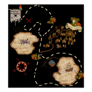 Mapa del tesoro de la milla de la charca posters