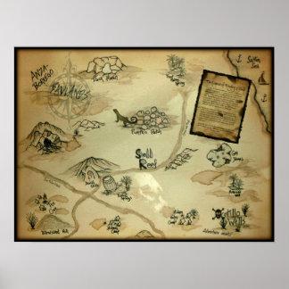 Mapa del tesoro de los pozos del Ocotillo de Calif Poster