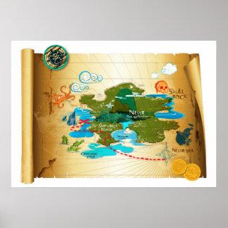 Mapa del tesoro de Neverland Póster