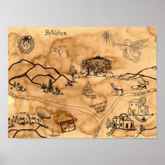 Mapa del tesoro del navidad póster