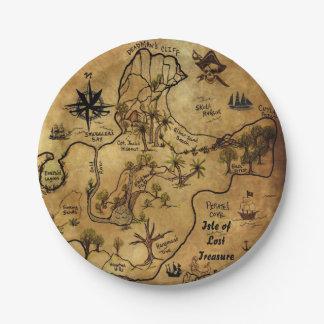 Mapa del tesoro del pirata platos de papel