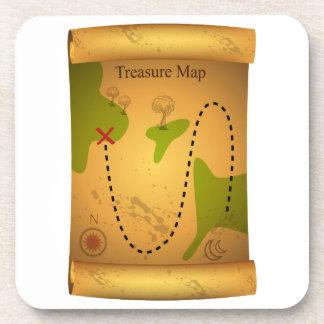 Mapa del tesoro del pirata posavasos de bebida