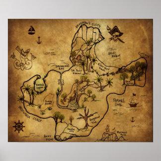 Mapa del tesoro la isla del tesoro perdido póster