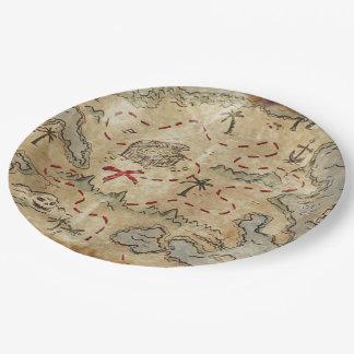 Mapa del tesoro platos de papel