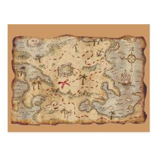 Mapa del tesoro tarjeta postal