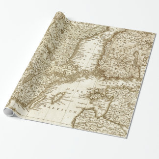 Mapa del tono de la sepia del papel de regalo de