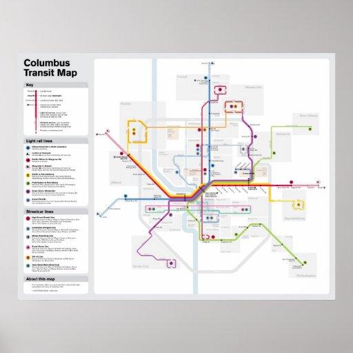Mapa del tránsito de Columbus de la fantasía Posters