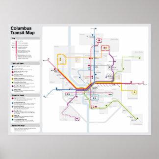 Mapa del tránsito de Columbus de la fantasía Póster