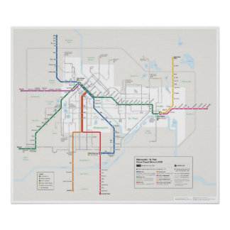 Mapa del tránsito de las ciudades gemelas futuro posters