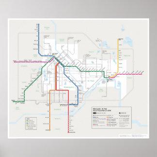 Mapa del tránsito de las ciudades gemelas (futuro) póster