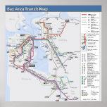 Mapa del tránsito del área de la bahía con leyenda impresiones