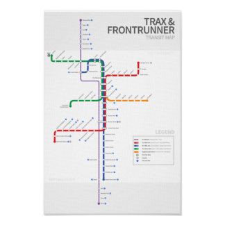 Mapa del tránsito del carril de Utah Posters