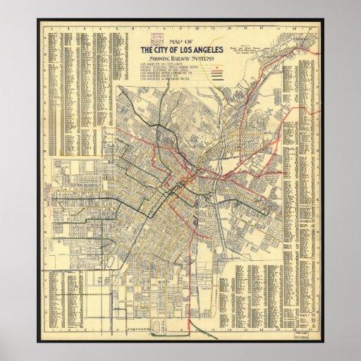 Mapa del tránsito público de Los Ángeles en 1909 Póster
