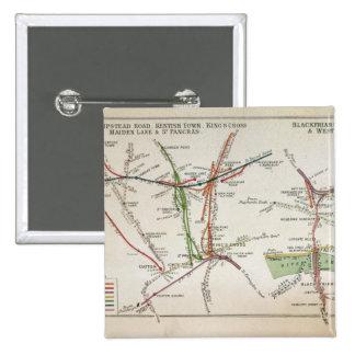 Mapa del transporte de Londres, c.1915 Pin Cuadrado