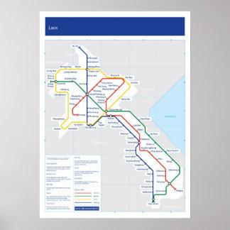 Mapa del tubo de Laos Impresiones