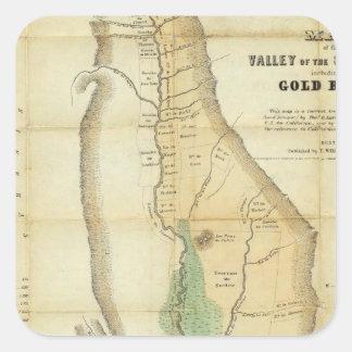 Mapa del valle de la Sacramento Pegatina Cuadrada