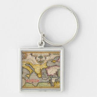 Mapa del viaje de los argonautas llavero cuadrado plateado