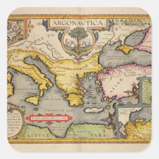 Mapa del viaje de los argonautas pegatina cuadrada