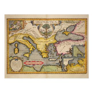 Mapa del viaje de los argonautas postal