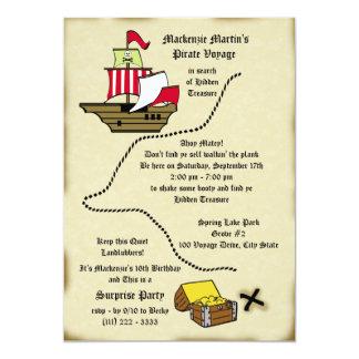 Mapa del viaje del cumpleaños del pirata invitacion personal
