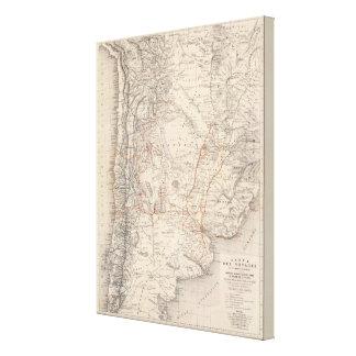 Mapa del viaje del Dr V Martin de Moussy Impresiones En Lona