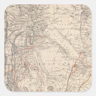 Mapa del viaje del Dr V Martin de Moussy Colcomanias Cuadradas Personalizadas