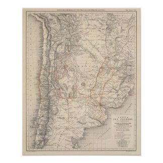 Mapa del viaje del Dr V Martin de Moussy Poster