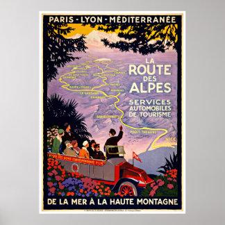 Mapa del viaje del francés - posters del viaje del