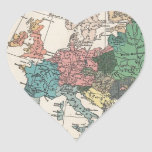 Mapa del viaje del vintage calcomanía de corazón