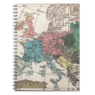 Mapa del viaje del vintage libros de apuntes