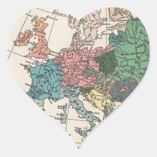 Mapa del viaje del vintage pegatina en forma de corazón