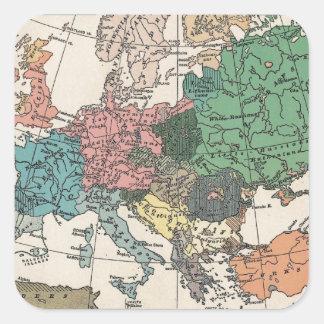Mapa del viaje del vintage colcomanias cuadradases